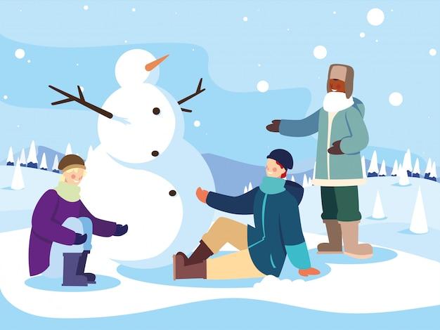 Grupo de pessoas com boneco de neve na paisagem de inverno Vetor Premium