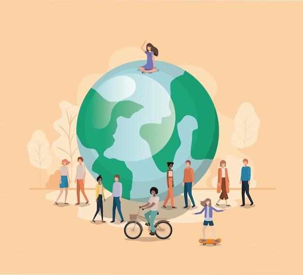 Grupo de pessoas com caráter de avatar do planeta terra Vetor Premium