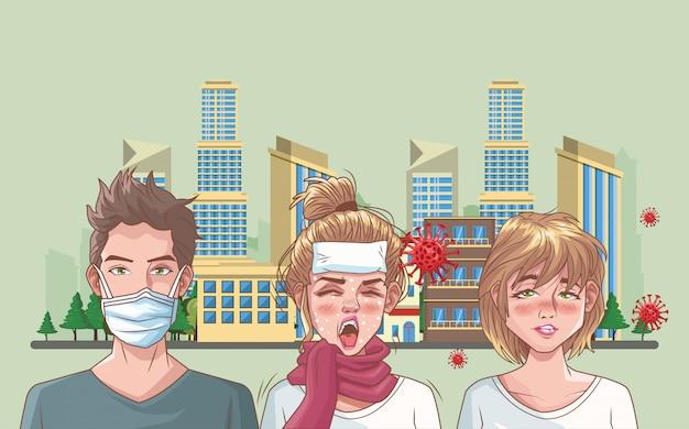Grupo de pessoas com cena de coronavírus Vetor Premium