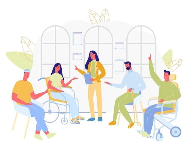 Grupo de pessoas com deficiência, sentado com o médico feminino. Vetor Premium