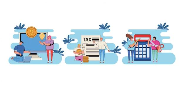 Grupo de pessoas com dia de imposto paga design ilustração Vetor Premium