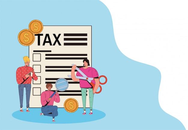 Grupo de pessoas com dia de imposto paga projeto de ilustração vetorial Vetor Premium