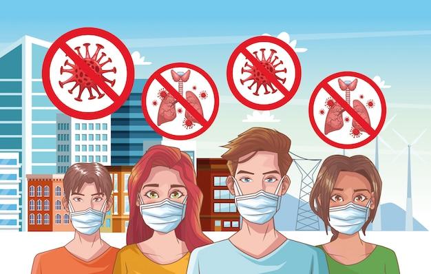 Grupo de pessoas com ilustração de cena de coronavírus Vetor Premium
