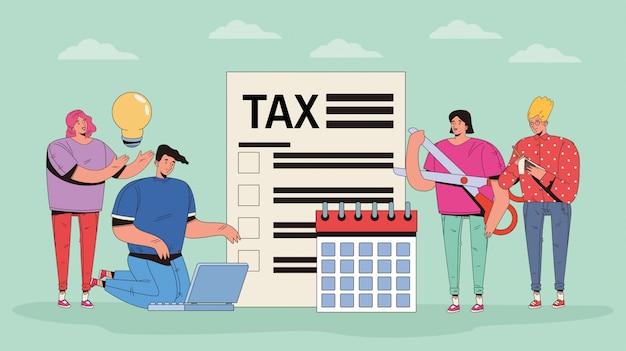 Grupo de pessoas com impostos e ícones de dinheiro Vetor Premium