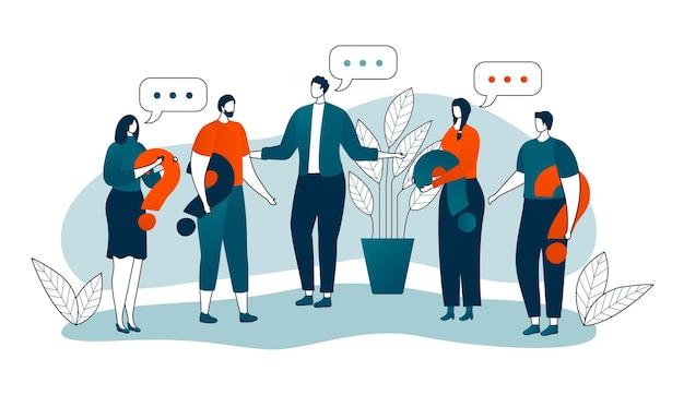 Grupo de pessoas com linha fina de sinal de pergunta iolated em branco. busca de solução ou resposta para o problema, confusão de homens e mulheres. perguntas na comunicação ou decisão nos negócios. Vetor Premium