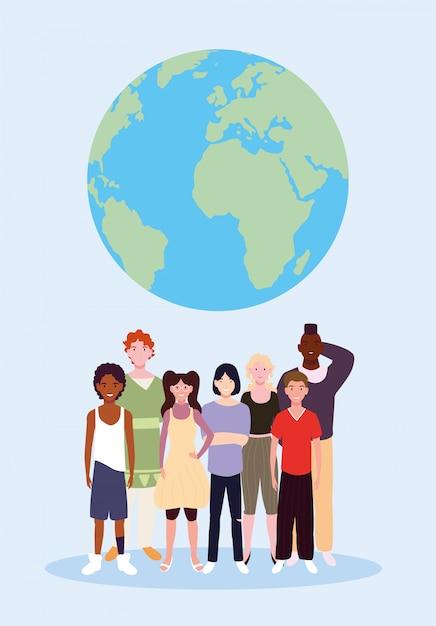 Grupo de pessoas com o planeta terra Vetor Premium