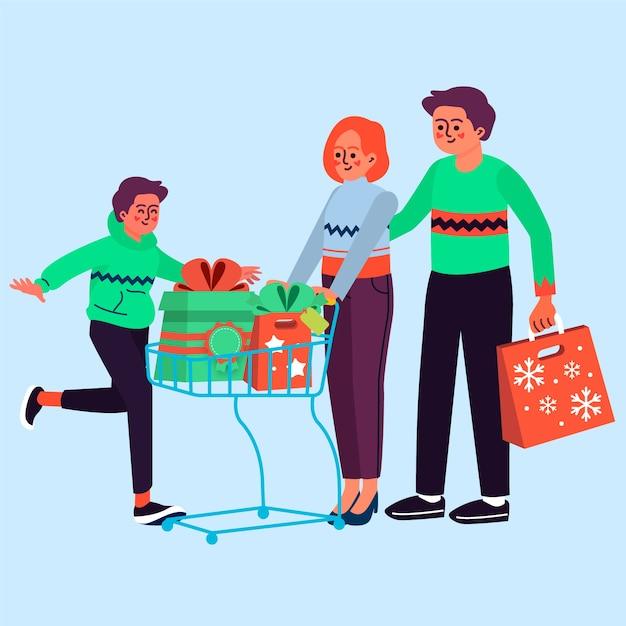 Grupo de pessoas comprando presentes Vetor grátis