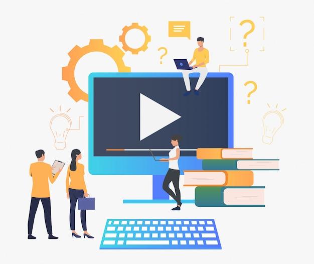 Grupo de pessoas criando vídeo Vetor grátis