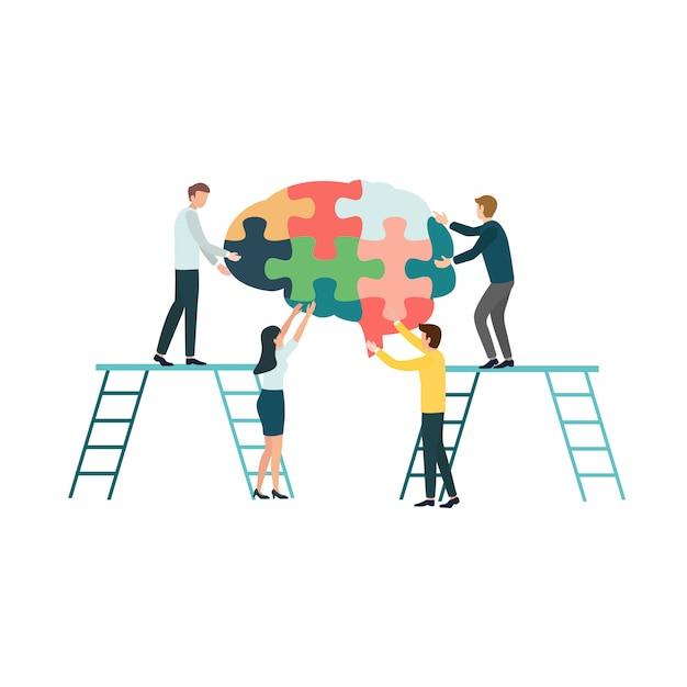 Grupo de pessoas criativo dos trabalhos de equipa que monta uma serra de vaivém do cérebro para o conceito da doença de alzheimer. Vetor Premium