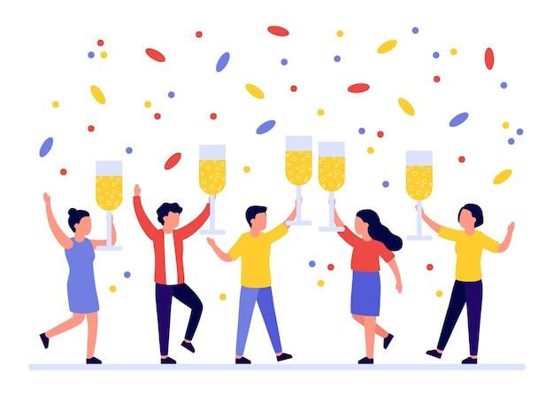 Grupo de pessoas dando boas-vindas ao feriado com um copo de vinho nas mãos. Vetor Premium