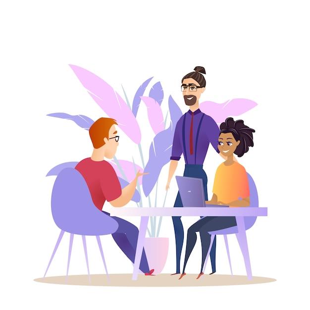 Grupo de pessoas de negócios brainstorm conversa Vetor Premium