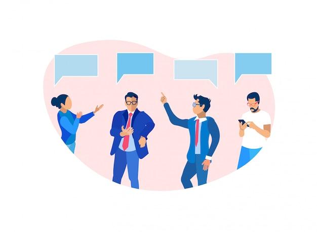 Grupo de pessoas de negócios, comunicando, brainstorming Vetor Premium
