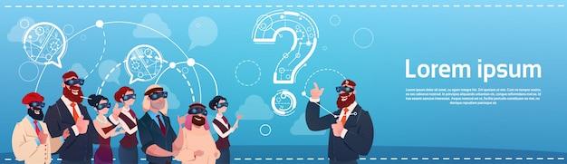 Grupo de pessoas de negócios usar óculos de realidade digital pergunta mark ponder problema conceito Vetor Premium