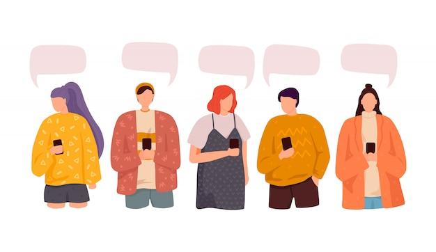Grupo de pessoas discutir notícias de mídia social. ilustração, estilo simples, bolhas do discurso de diálogo Vetor Premium