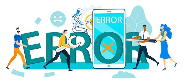 Grupo de pessoas e robô reparação enorme smartphone Vetor Premium