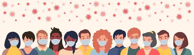 Grupo de pessoas em máscaras protetoras e coronavírus voador em estilo simples. homens e mulheres vestindo máscaras médicas para prevenir doenças, gripe, conceito de quarentena. Vetor Premium