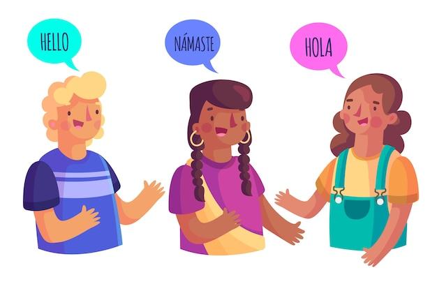 Grupo de pessoas falando idiomas diferentes Vetor grátis