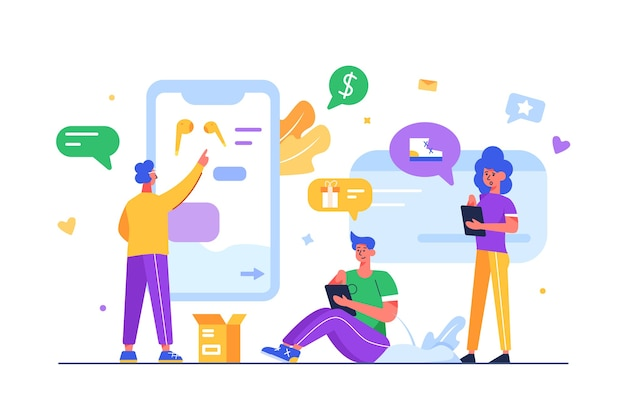 Grupo de pessoas faz compras online por meio de dispositivos móveis, displays e produtos, cara seleciona um produto com o dedo em uma grande tela móvel isolada no fundo branco, ilustração plana Vetor Premium