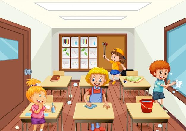 Grupo de pessoas limpando sala de aula Vetor Premium