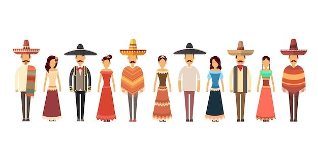 Grupo de pessoas mexicanas desgaste roupas tradicionais de comprimento total Vetor Premium