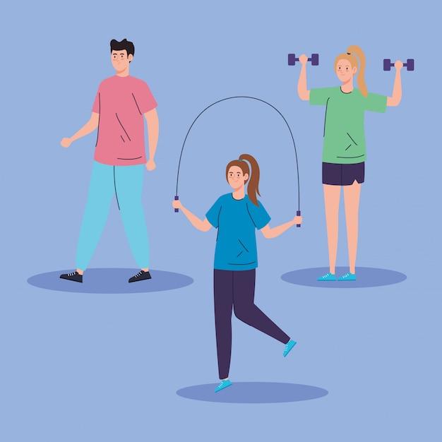 Grupo de pessoas praticando exercício Vetor grátis