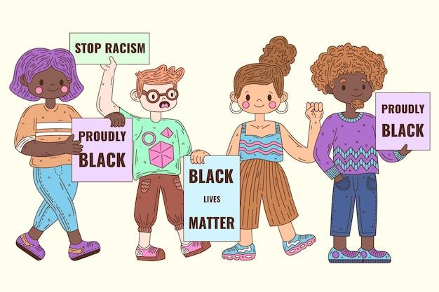 Grupo de pessoas que protestam contra o racismo com cartazes Vetor grátis