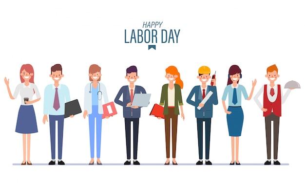 Grupo de pessoas que trabalham o dia internacional do trabalho em equipe de trabalho em equipe. Vetor Premium