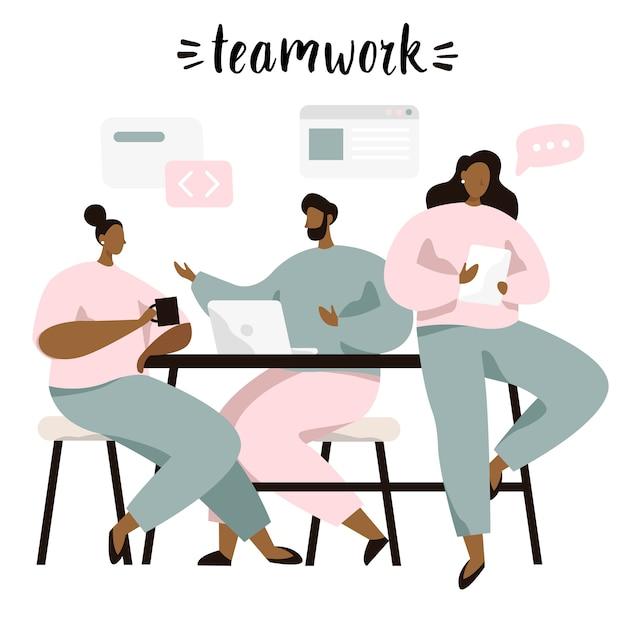 Grupo de pessoas sentadas à mesa e discutir idéias, trocando informações, resolvendo problemas. brainstorm ou trabalho em equipe. Vetor Premium