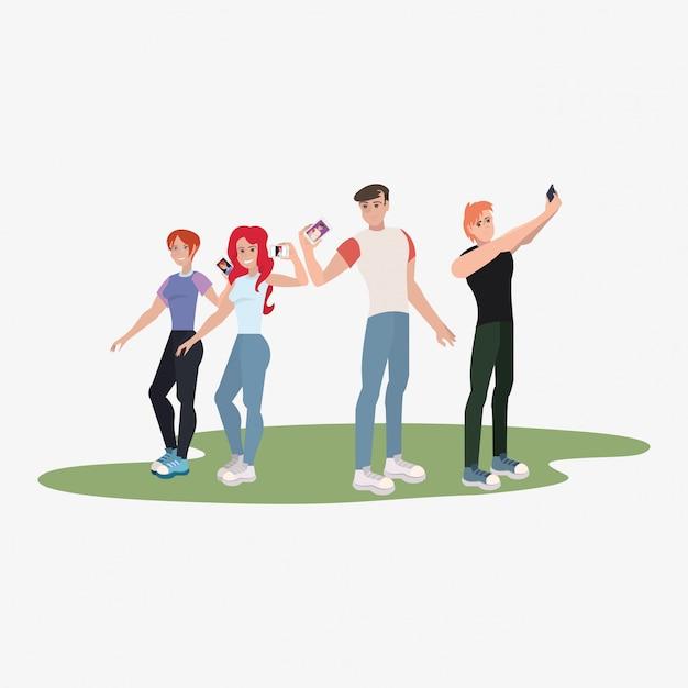 Grupo de pessoas tomando selfie Vetor Premium