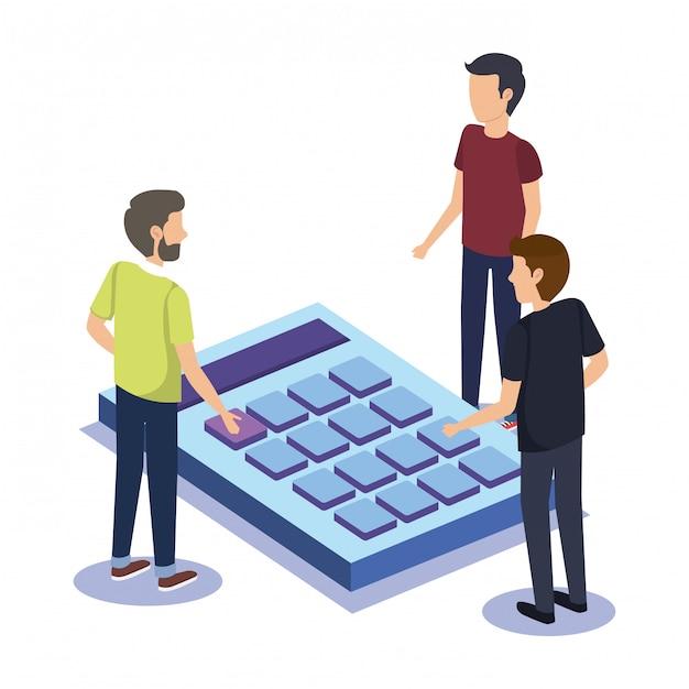 Grupo de pessoas trabalho em equipe com calculadora Vetor grátis