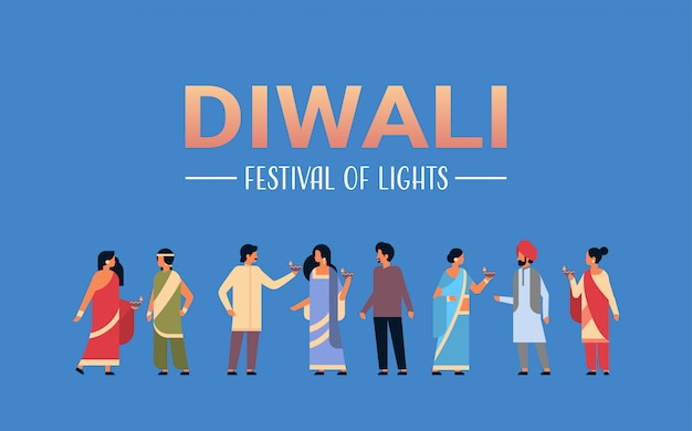 Grupo de povos indianos felizes diwali vestindo roupas tradicionais nacionais, segurando a bandeira do óleo Vetor Premium