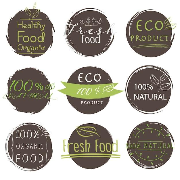 Grupo de produto da bandeira eco, natural, vegetariano, alimento orgânico, fresco, saudável. Vetor Premium