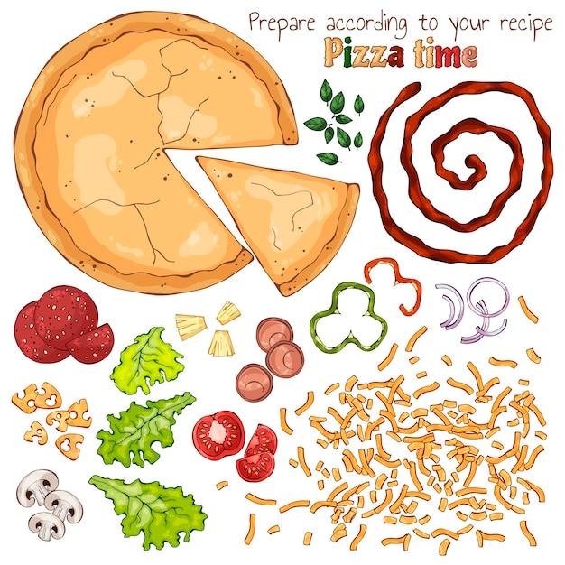 Grupo de produtos isolados vetor para cozinhar pizza. Vetor Premium
