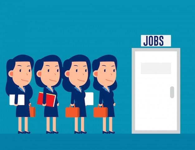 Grupo de profissionais na fila para os empregos Vetor Premium