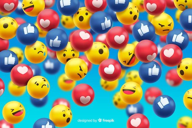 Grupo de reações do emoticon do facebook Vetor grátis