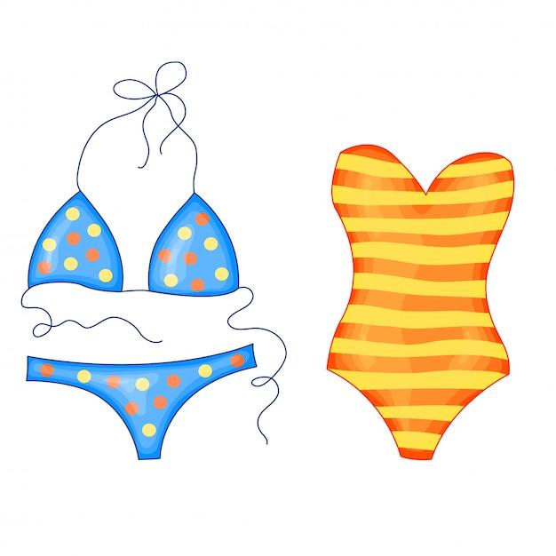 Grupo de roupa de banho listrado brilhante da praia do às bolinhas amarelo e azul no estilo bonito dos desenhos animados. ilustração vetorial isolada Vetor Premium
