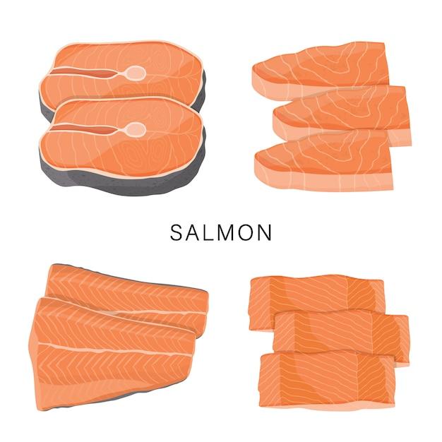 Grupo de salmões, fatia de peixes crus e bifes isolados em um fundo branco. ilustração dos desenhos animados Vetor Premium