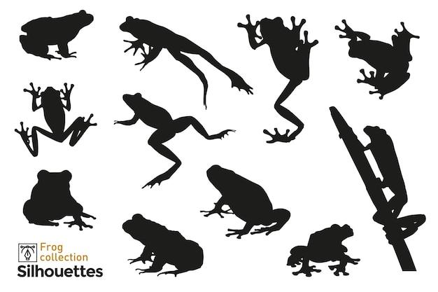 Grupo de sapo silhuetas pulando, escalando uma planta. ícones de pequenos animais para o seu. Vetor Premium