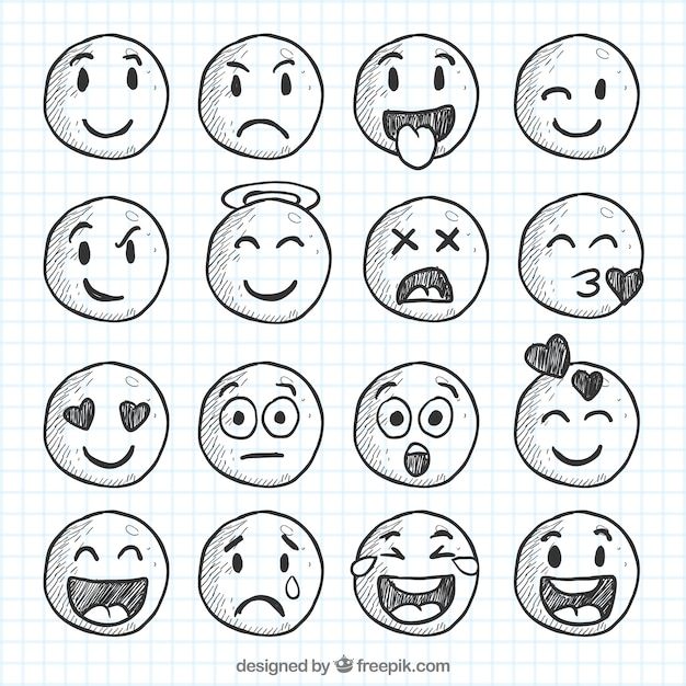 Grupo de smiley esboços Vetor grátis