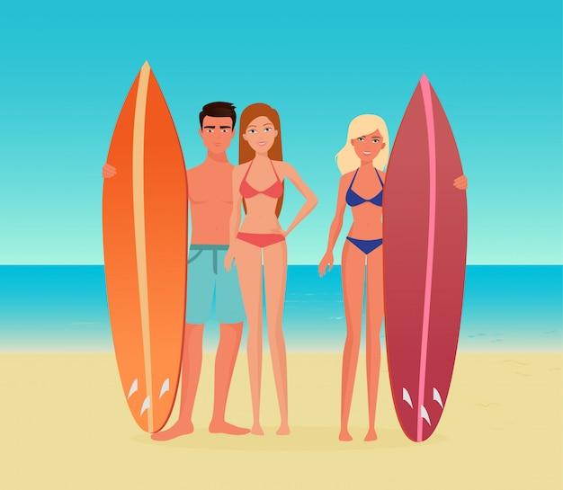 Grupo de surf de pessoas Vetor Premium