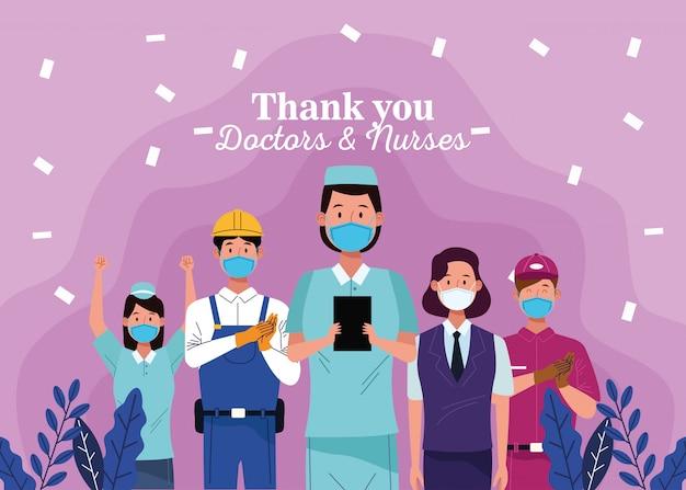 Grupo de trabalhadores usando máscaras com mensagem de agradecimento a médicos e enfermeiros Vetor Premium
