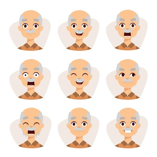 Grupo de um avô liso simples da ilustração do projeto das emoções do ancião. Vetor Premium