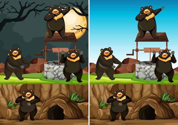 Grupo de ursos selvagens em muitas poses no estilo de desenho animado do parque animal isolado no fundo do dia e da noite Vetor grátis