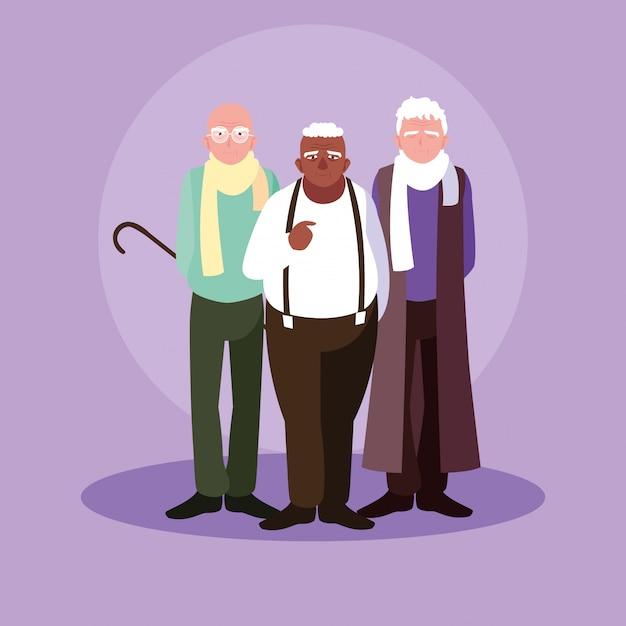 Grupo de velho personagem de avatar Vetor Premium