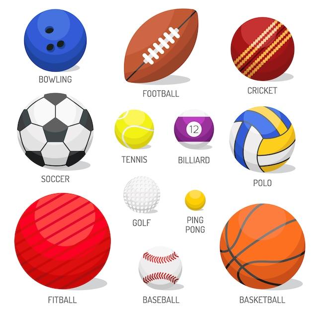 Grupo de vetor isolado das bolas do esporte. Vetor Premium