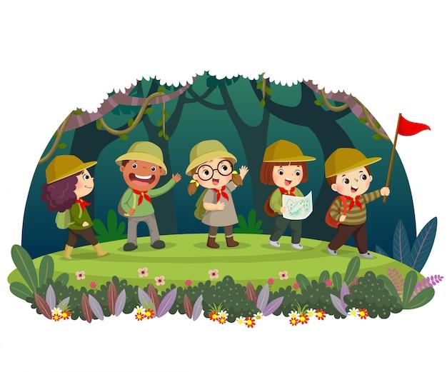 Grupo de viajantes de criança com mochila caminhadas na floresta. as crianças têm aventura ao ar livre no verão. Vetor Premium