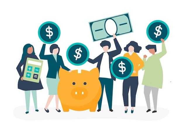 Grupo diversificado de pessoas e ilustração do conceito de poupança Vetor grátis