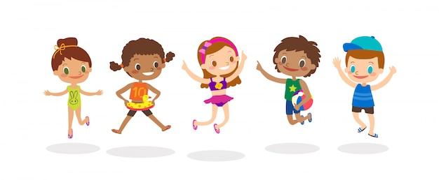 Grupo diverso de salto das crianças isolado no fundo branco, crianças felizes com traje do verão. vetorial, caricatura, ilustração Vetor Premium