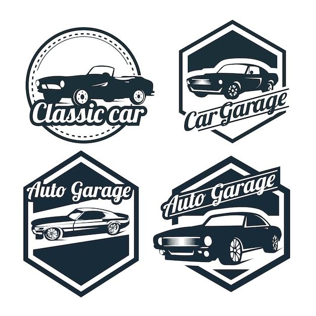 Grupo do projeto dos logotipos do carro, emblemas do estilo do vintage e ilustração retro dos crachás. reparos de carros clássicos, silhuetas de serviço de pneu. Vetor Premium