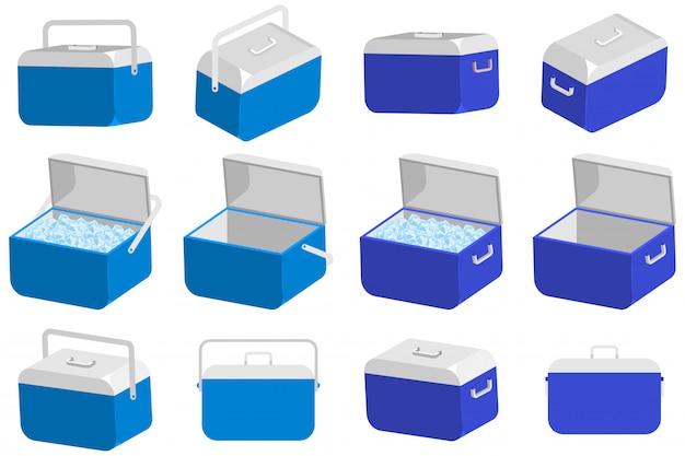 Grupo do vetor da caixa do refrigerador de gelo isolado em um fundo branco. Vetor Premium